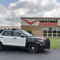 Training Police cruiser in front of Vantage Career Center building