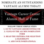 Vantage 2019 Alumni Hall of Fame Nominations are open flyer