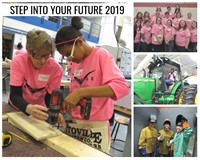 Pictures of girls working in non traditional programs for the Step Into Your Future flyer.
