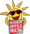 Sun graphic with summer office hours text