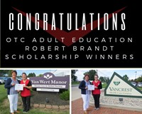 Photo of two OTC Adult Education LPN Students being awarded the Robert Brandt Scholarship