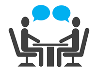 graphic of two people sitting in an interview