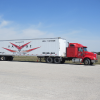 Red Semi with Vantage logo trailer