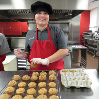 Culinary Arts students prepares muffins.