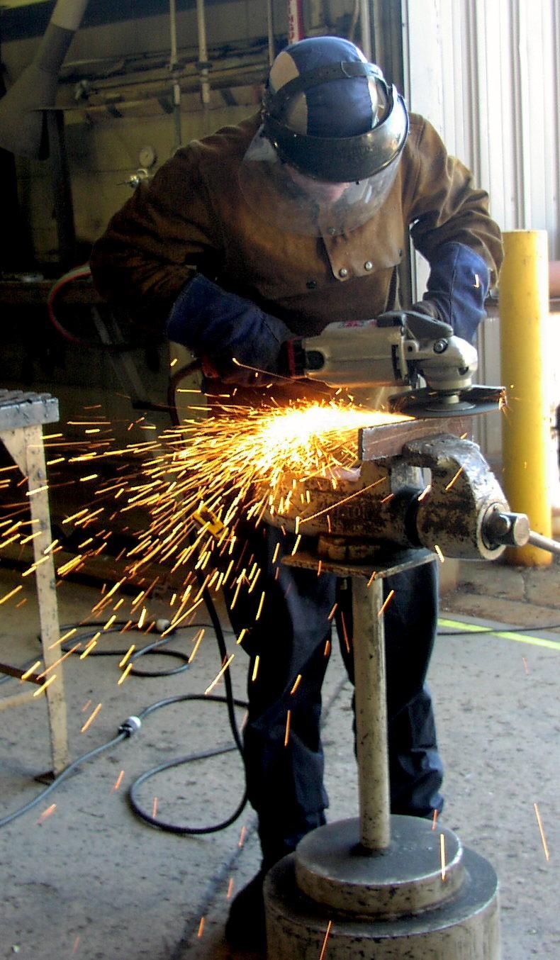 OTC welding student