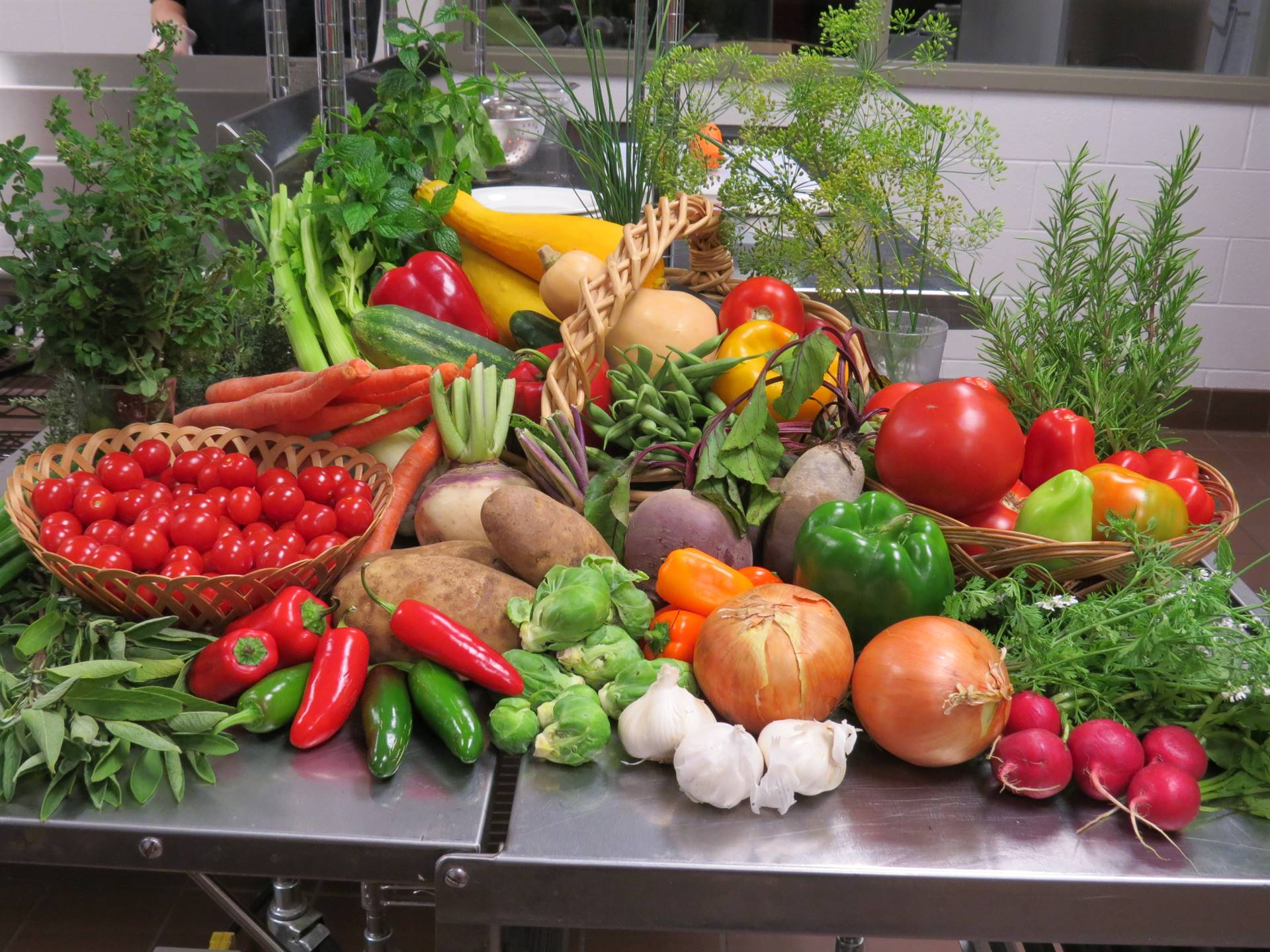 Beautiful display of colorful vegetables from the garden