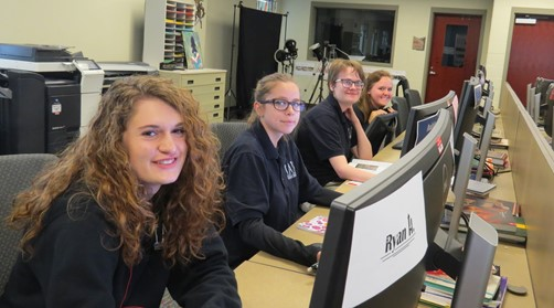 Interactive Media students working at computers