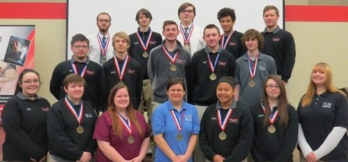 Group of high school students with their top 10 BPA medals