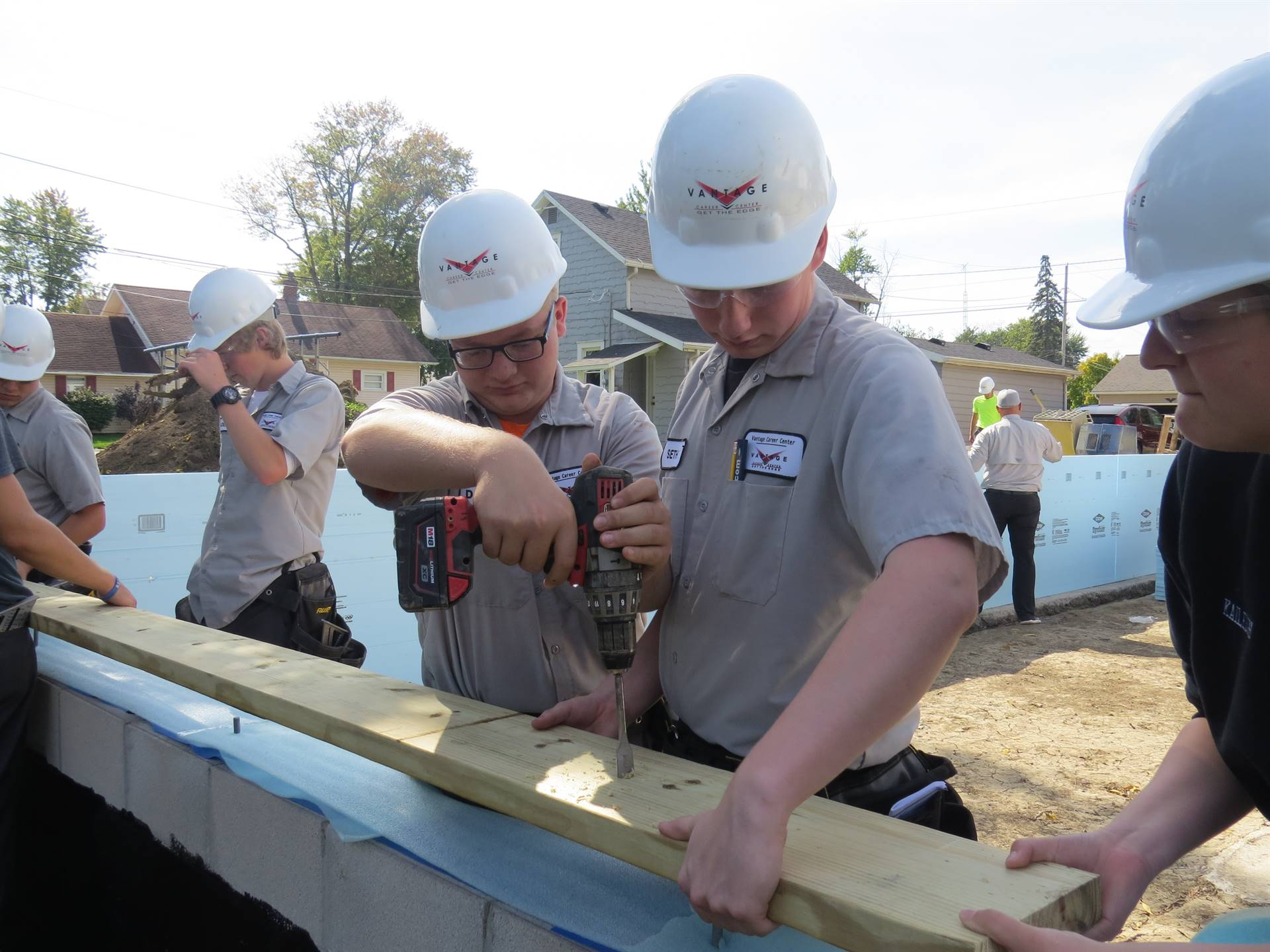 Carpentry students building Habitat for Humanity house.