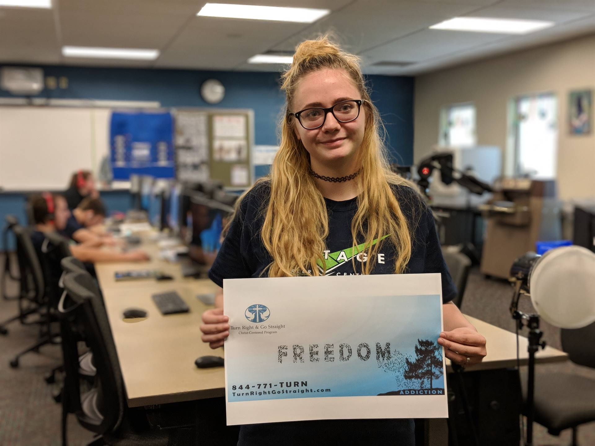 Interactive Media student designs a billboard draft for a local business.