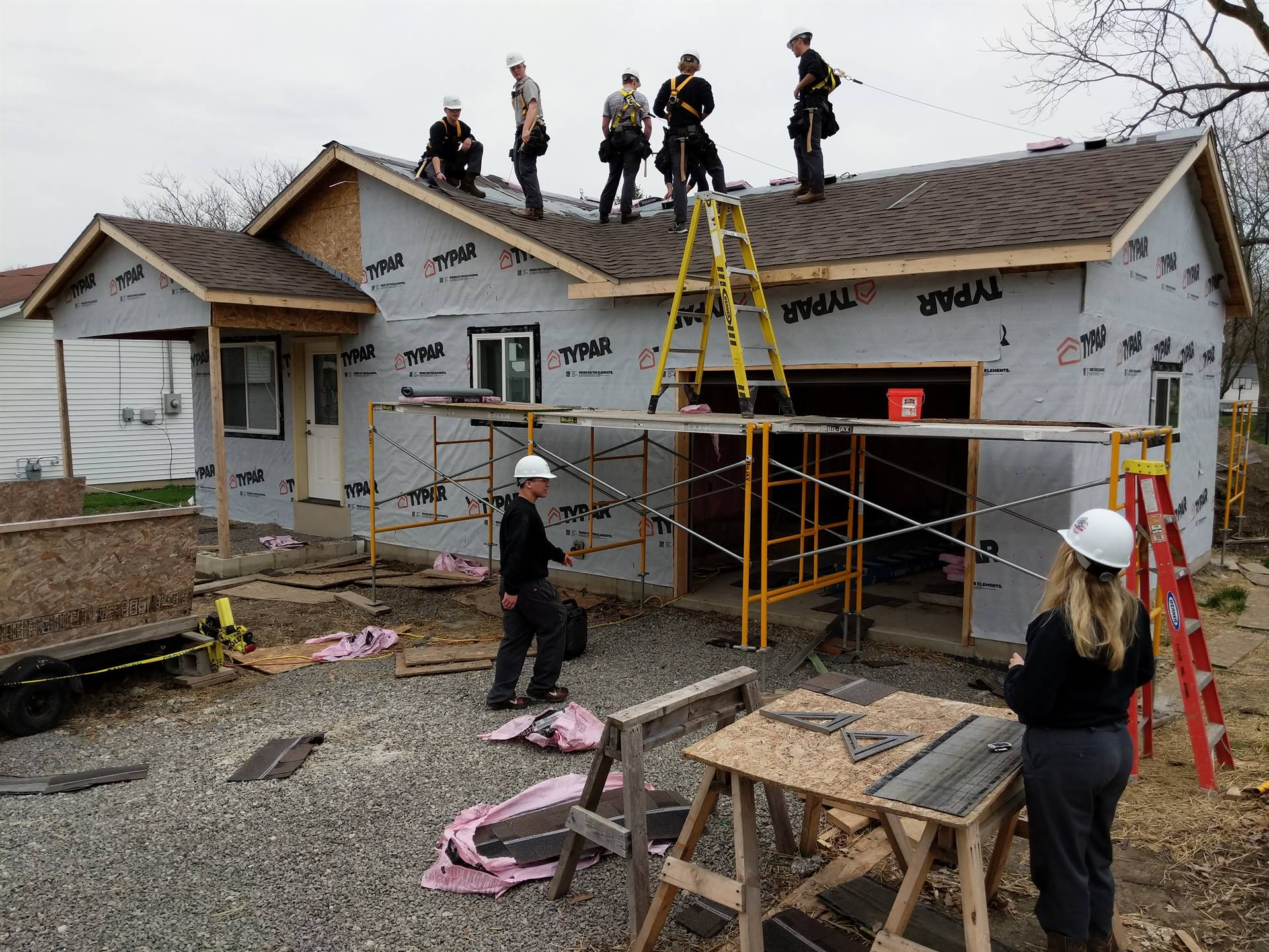 Carpentry students work on the Habitat for Humanity house located in Van Wert.