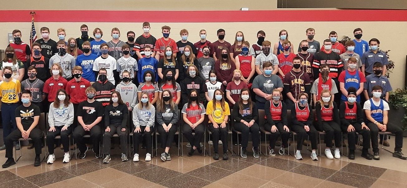 Spring sports students posed